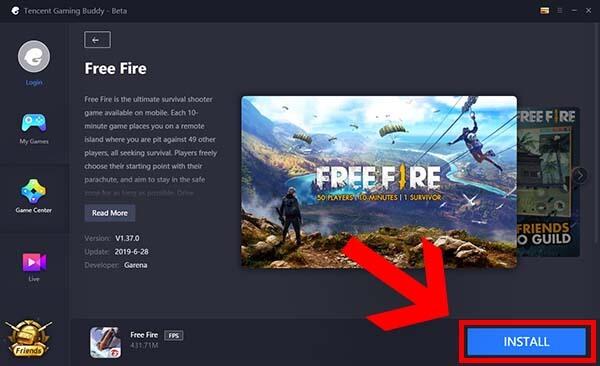 установка Free Fire на ПК