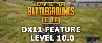 DX11 feature level 10.0 PUBG Lite
