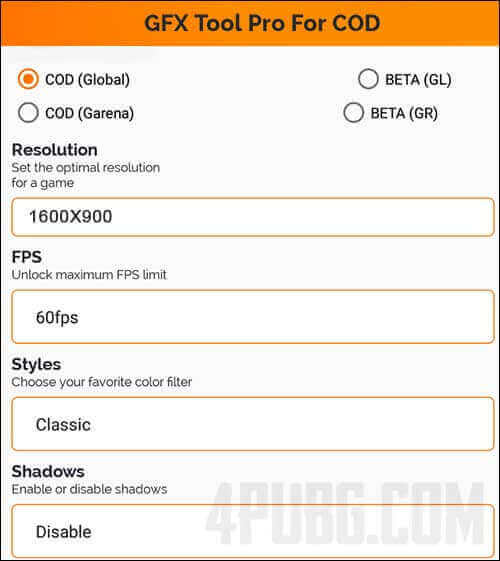 настройки gfx tool cod mobile