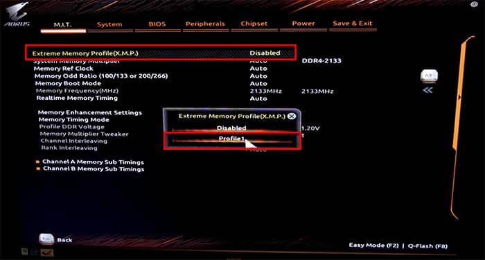 X.M.P профиль BIOS